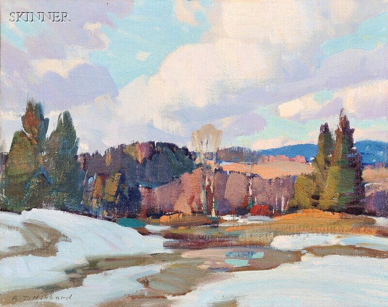 Aldro Thompson Hibbard (American, 1886-1972)      Landscape with Patches of Snow