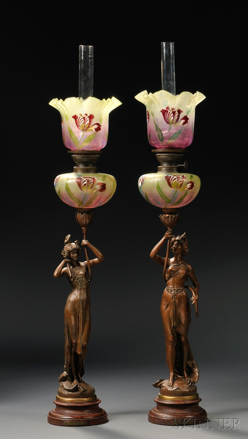 pair of art nouveau figural spelter oil lamps with glass. Black Bedroom Furniture Sets. Home Design Ideas