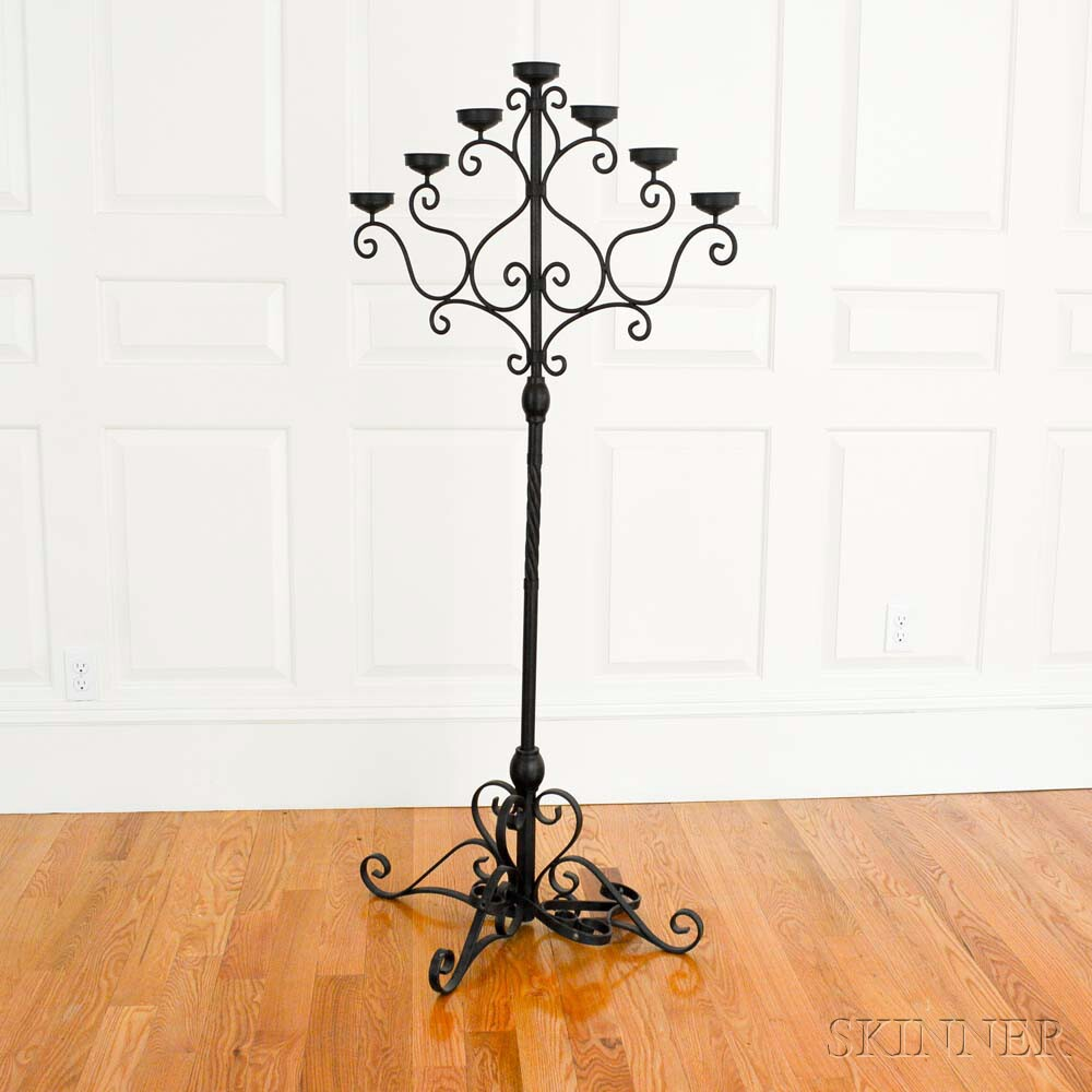 Spanish-style Iron Seven-light Torchiere