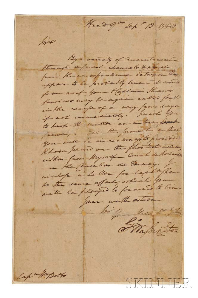 Washington, George (1732-1799) Letter Signed, Headquarters, Bergen County, New Jersey, 13 September 1780.