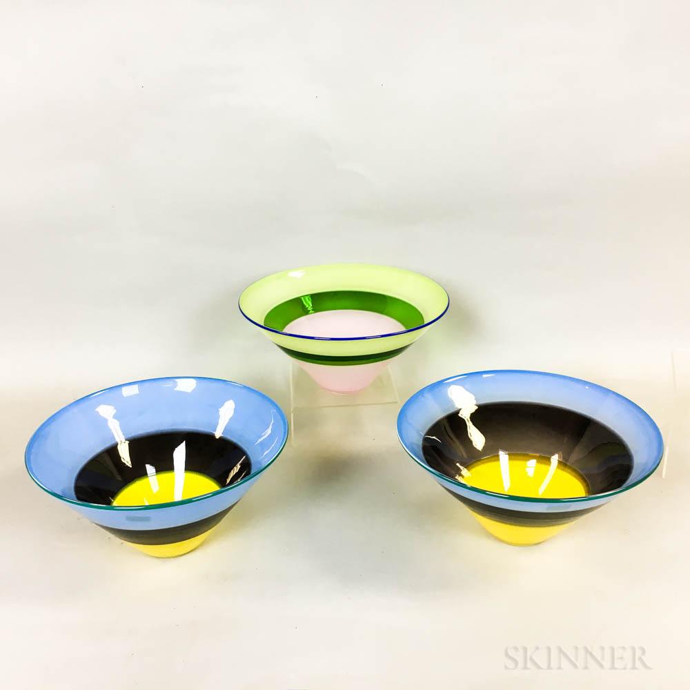 Three Simon Moore Studio Glass Bowls