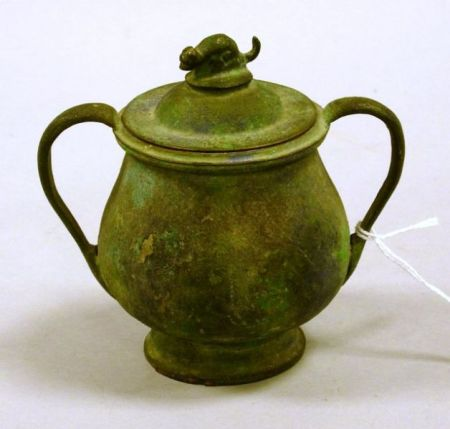 Small Patinated Bronze and Metal Two-Handled Covered Jar