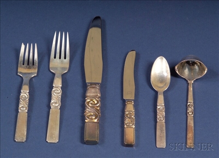 "Georg Jensen Sterling ""Scroll"" Pattern Flatware Service for Twelve"