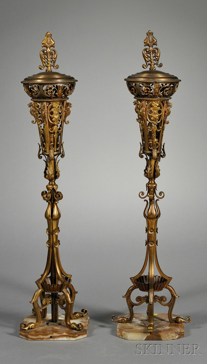 Pair of Gilt-bronze and Metal Floor Torchiere Lamps