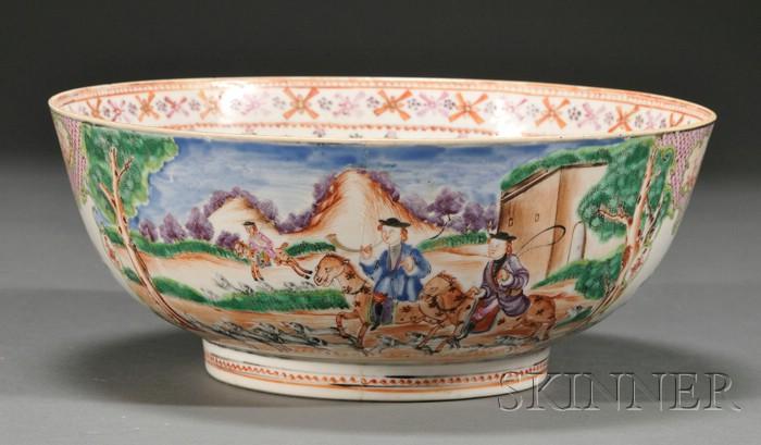 Chinese Export Famille Rose Porcelain Hunt Bowl