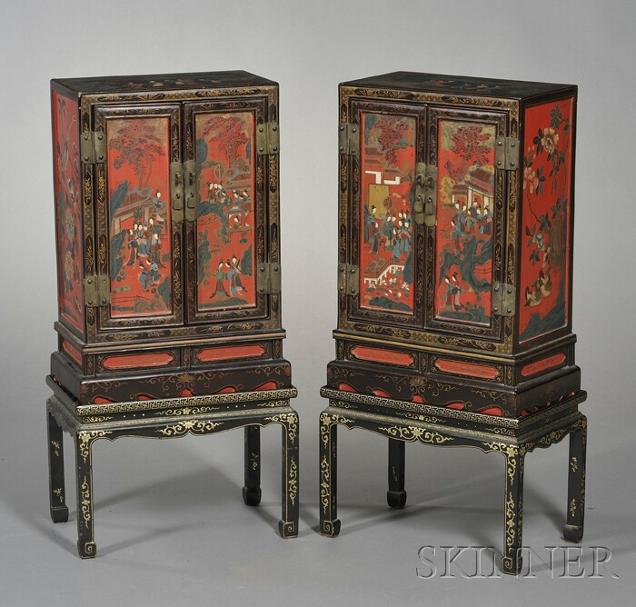 Pair of Japanese Lacquer Cabinets on Later Stands