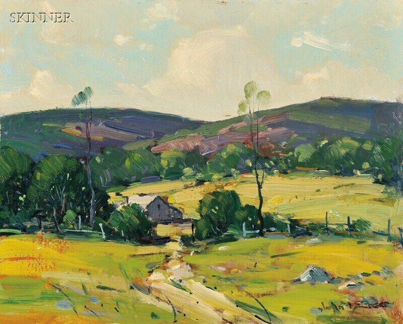 John F. Enser (American, 1898-1968)      Landscape with Fields and Barn