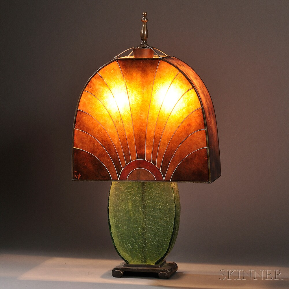 realized price for art deco table lamp