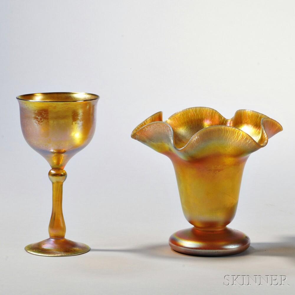 Tiffany Favrile Goblet and Quezal Rim Vase