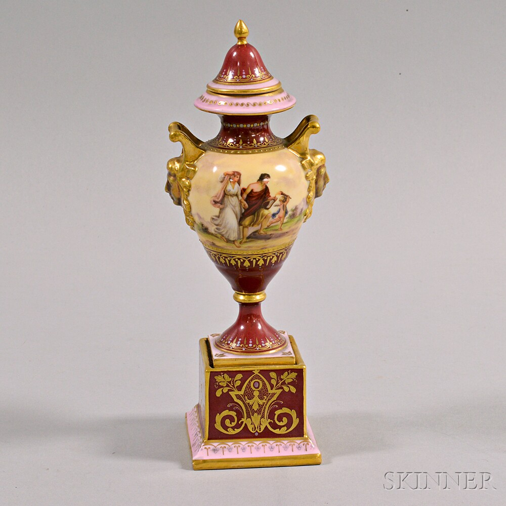 Small Royal Vienna Porcelain Covered Urn Depicting Orpheus