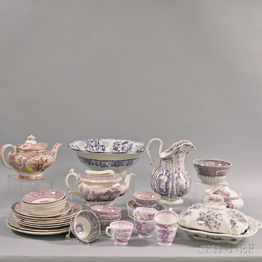 Thirty-six Purple Transfer-decorated Ceramic Tableware Items