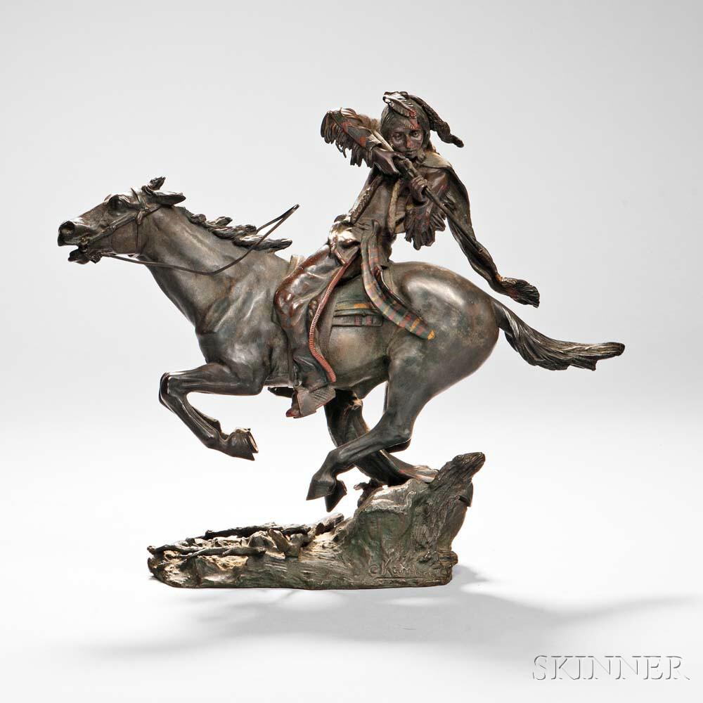 Carl Kauba (American/Austrian, 1865-1922)      Native American Rider Taking Aim