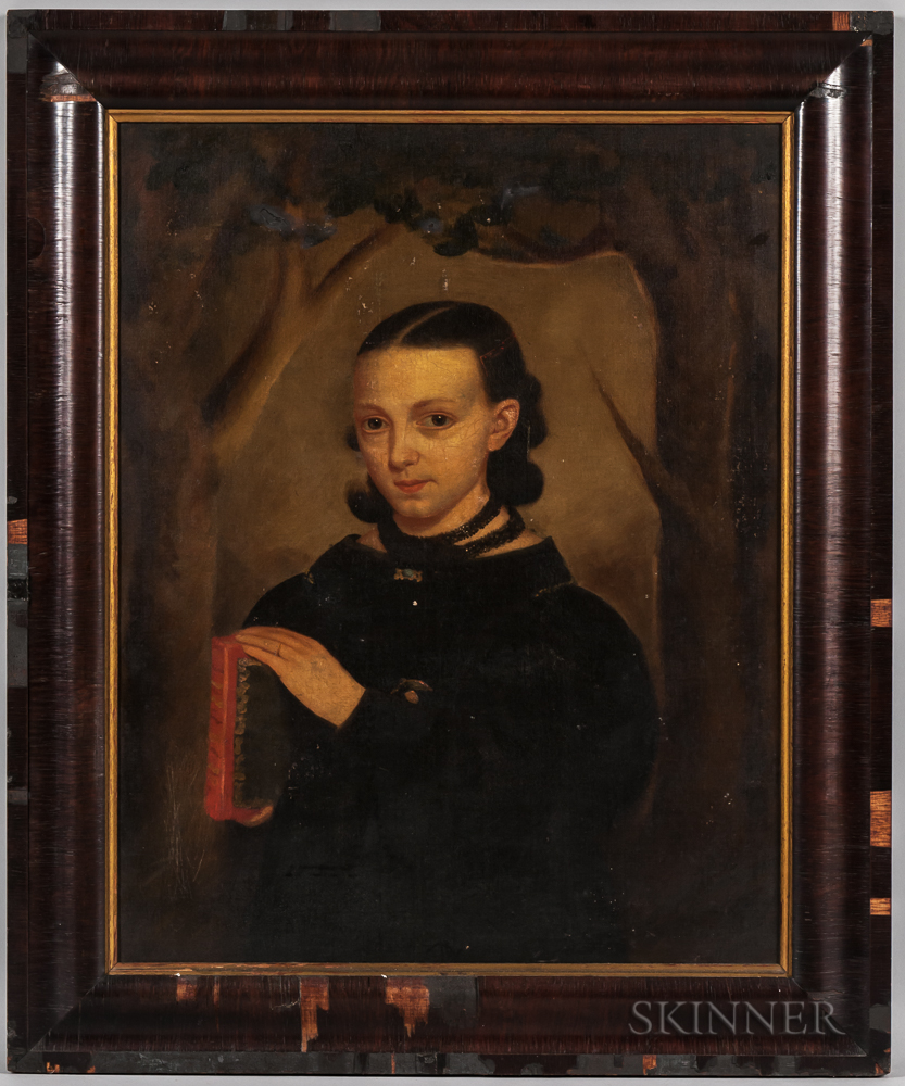 Anglo/American School, 19th Century      Half-length Portrait of a Woman in Black Holding a Book
