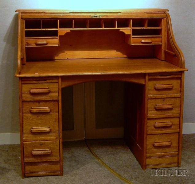 Oak Roll-top Double-pedestal Desk.