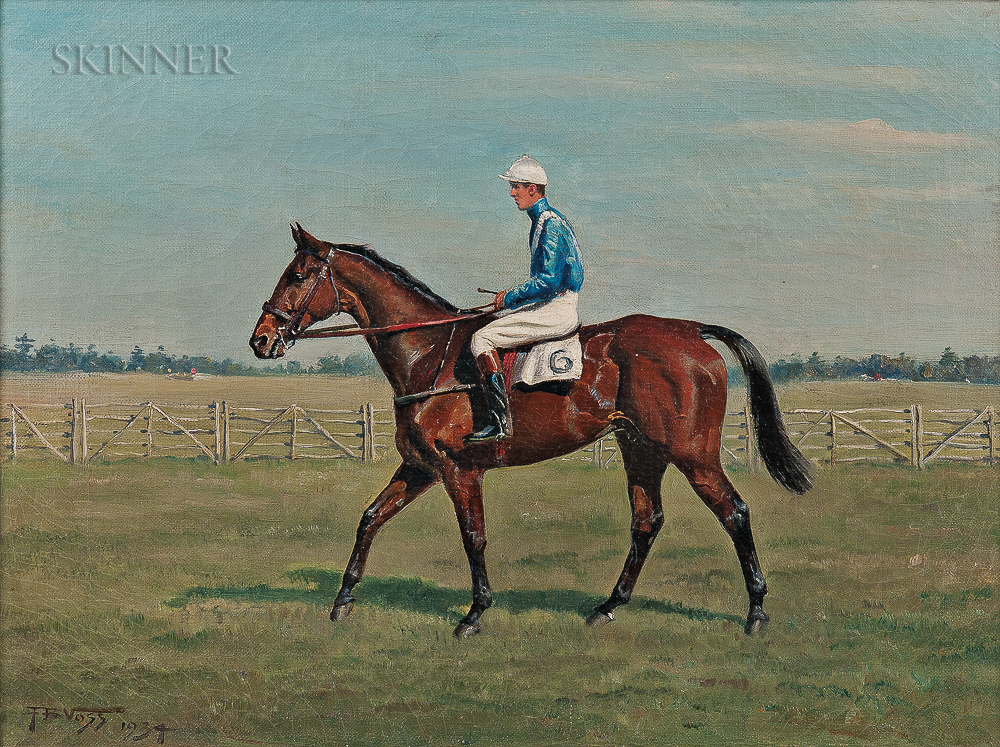 Franklin Brook Voss (American, 1880-1953)      OUR FRIEND ridden by Noel Laing