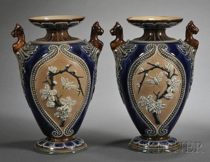 Pair of Doulton Lambeth Slater's Patent Stoneware Vases