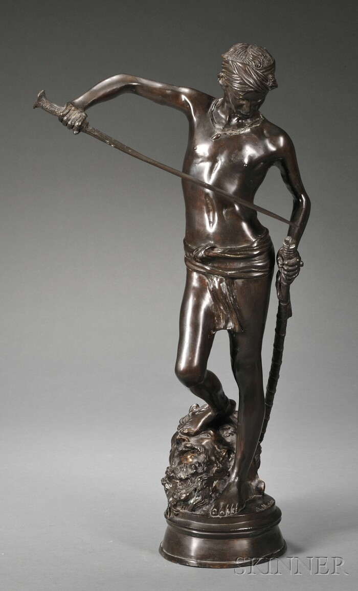 After Marius Jean Antonin Mercie (French, 1845-1916), Bronze Figure of David Standing on the Head of the Vanquished Goliath/David Va...