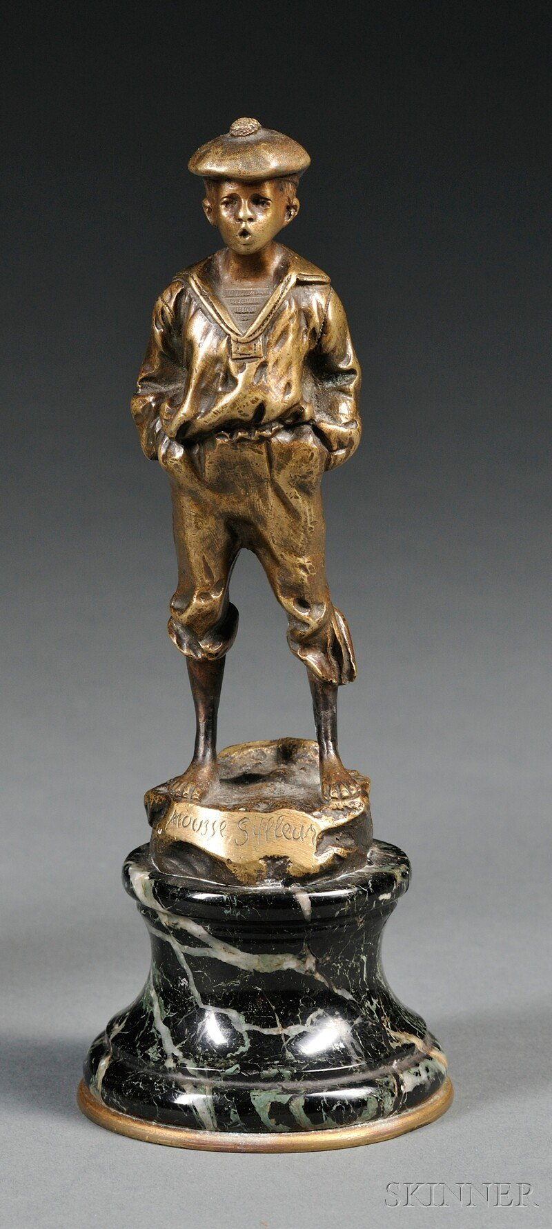 After Victor Szczblrwski (Polish, 19th/20th Century)      Bronze Figure of a Young Boy Whistling/Mousse Siffleur