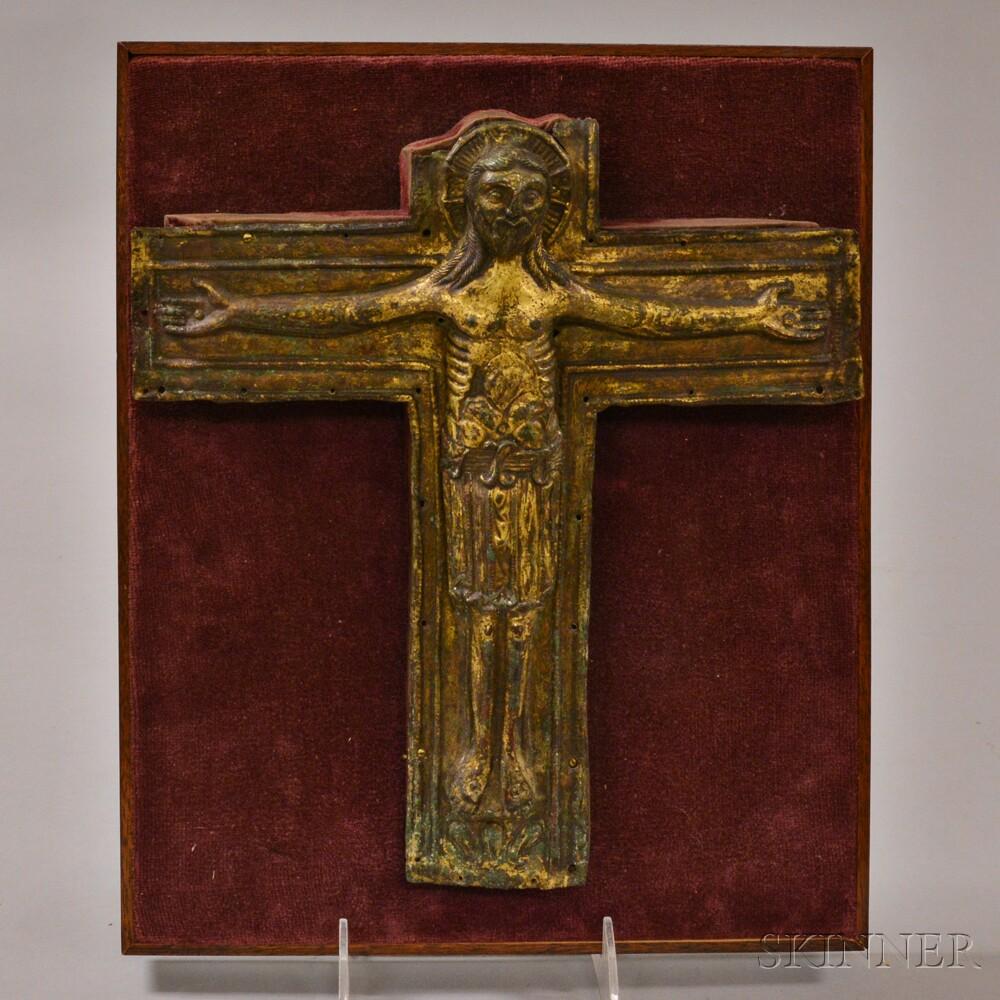 Continental Repousse Brass Crucifix