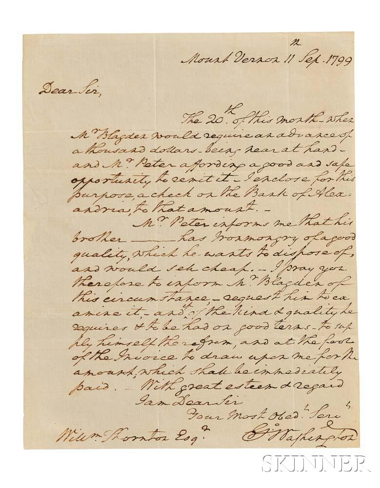 Washington, George (1732-1799) Autograph Letter Signed, Mount Vernon, 11 September 1799.