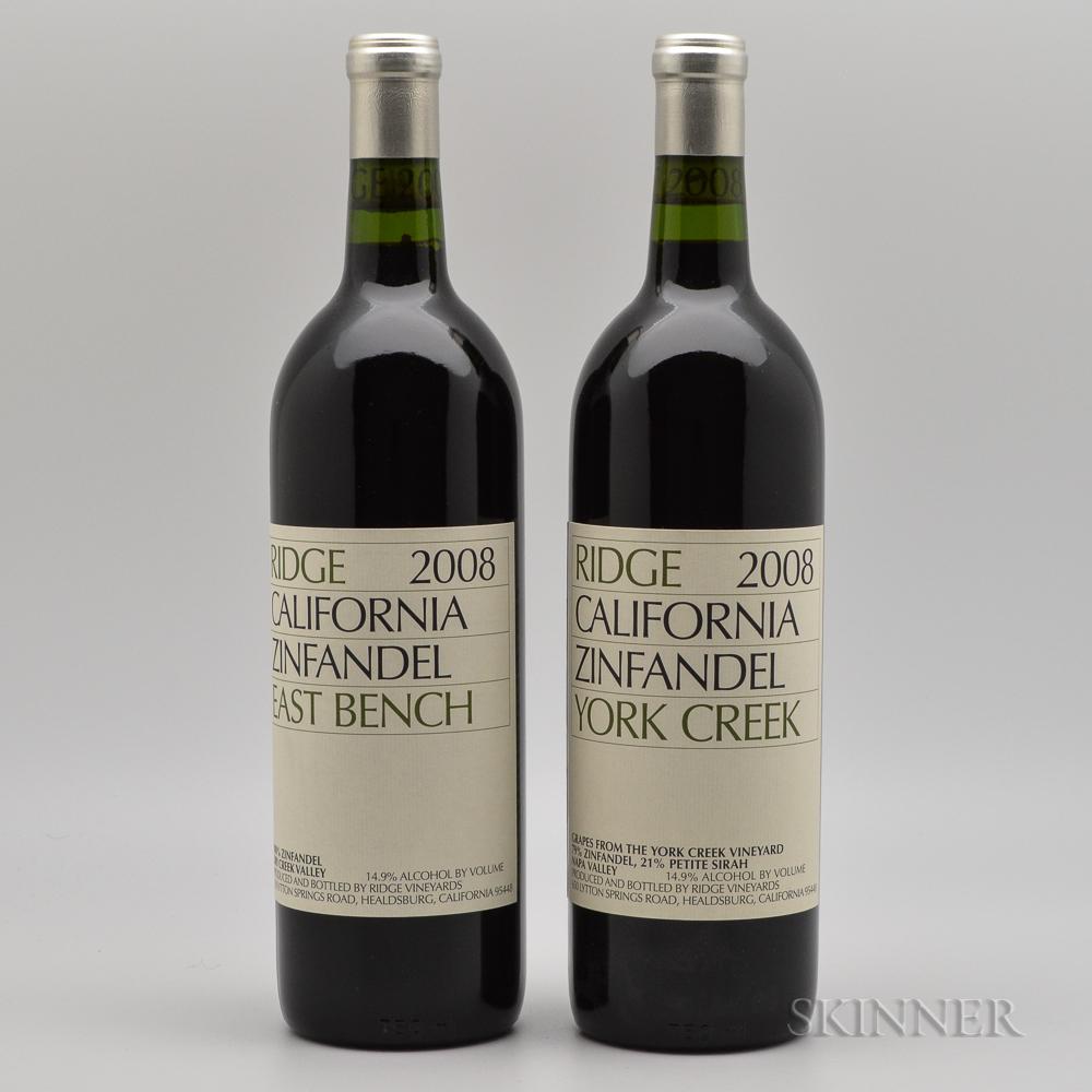 Ridge East Bench Zinfandel 2008, 2 bottles