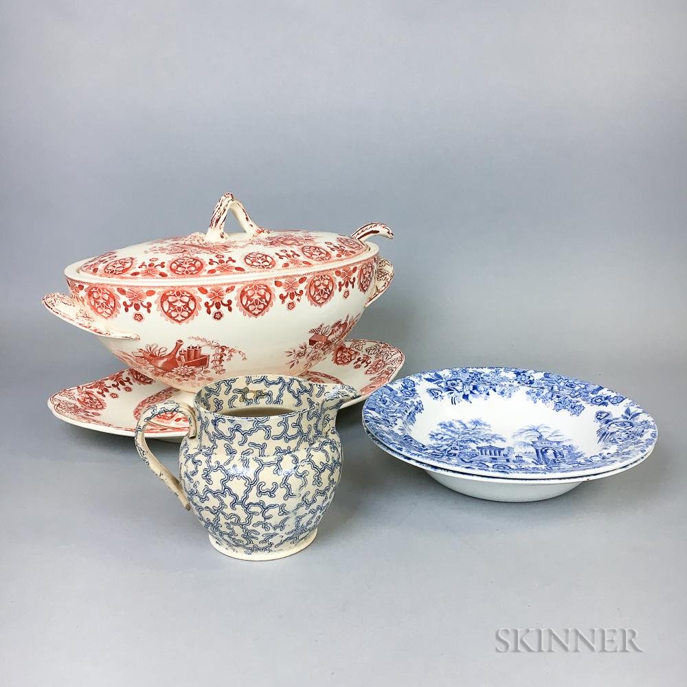 Six Transfer-decorated Ceramic Items