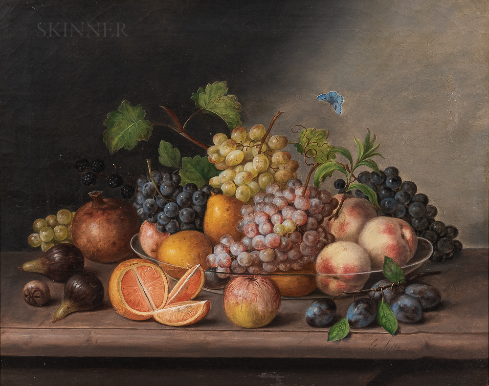 Georg Seitz (German, 1810-1870)      Tabletop Still Life with Fruit and Blue Butterfly