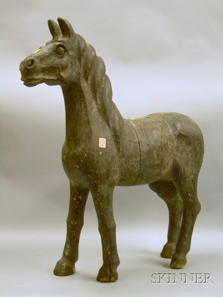 Black-painted Carved Wooden Horse Figure