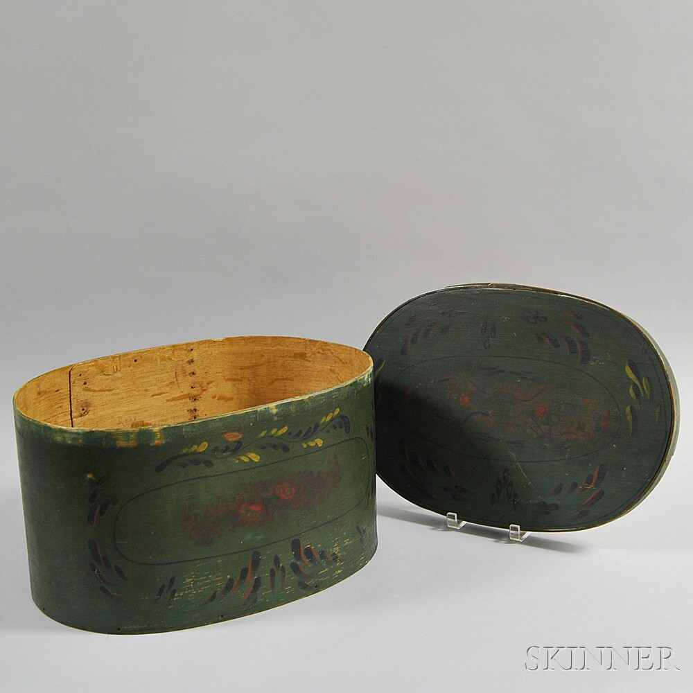 Paint-decorated Oval Hat Box