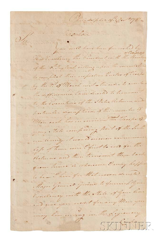Washington, George (1732-1799) Circular Letter Signed, Philadelphia, 19 December 1781.
