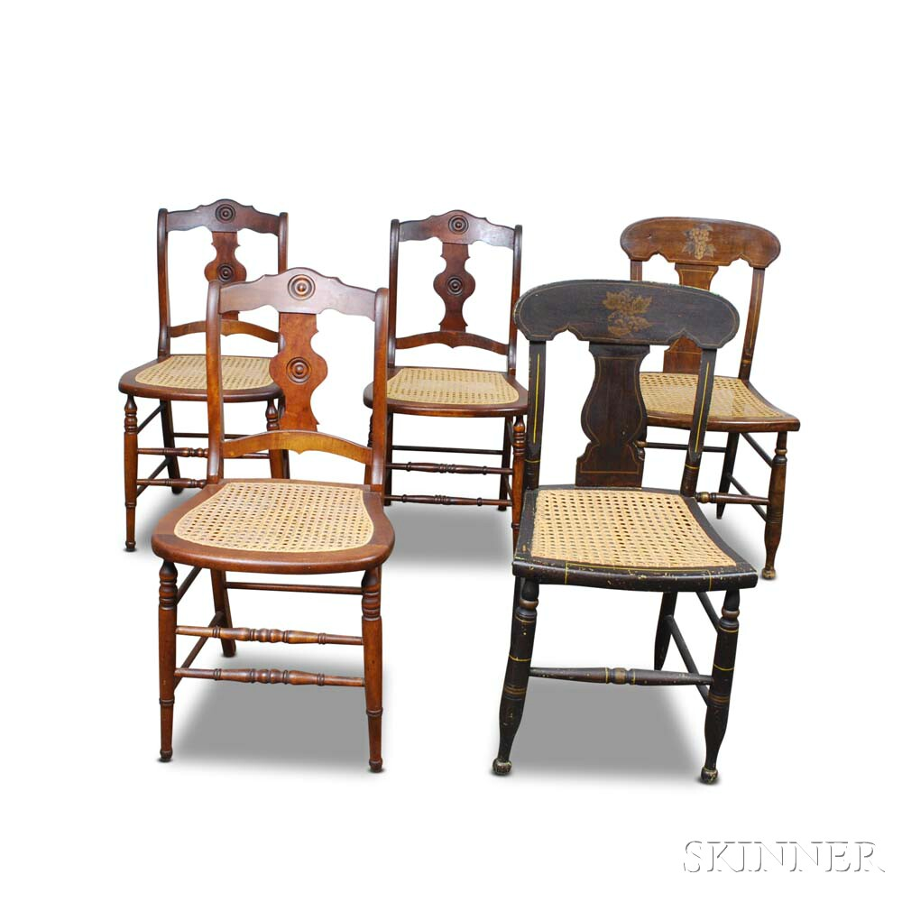 Five Country Caned Side Chairs.     Estimate $20-200