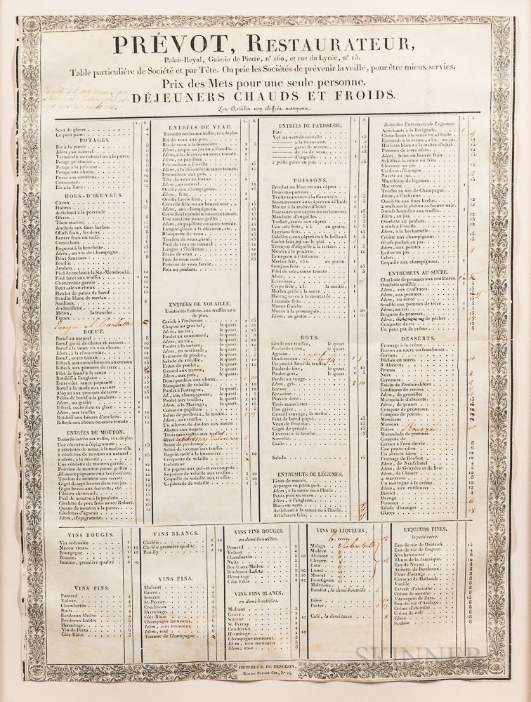 Printed Paris Restaurant Menu