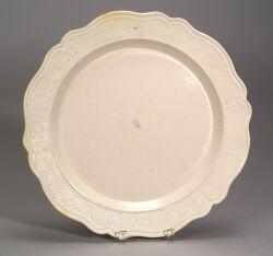 Staffordshire White Salt-Glazed Stoneware Charger