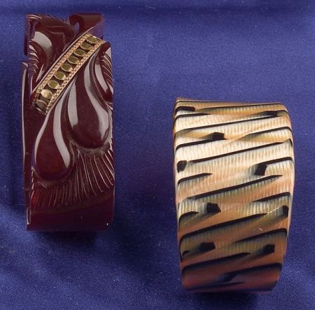 Bakelite and Brass Maroon Clamper and Celluloid Cuff Bracelets