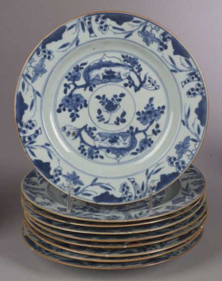 Nine Blue and White Plates