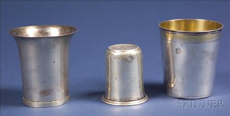 Three Continental Silver Beakers
