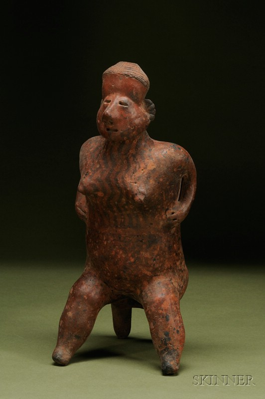 Pre-Columbian Painted Female Pottery Figure