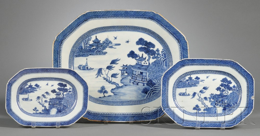Three Blue and White Decorated Chinese Export Porcelain Platters