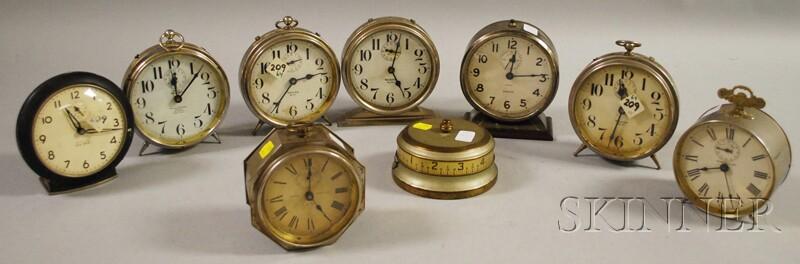 Group of Nine Alarm Clocks