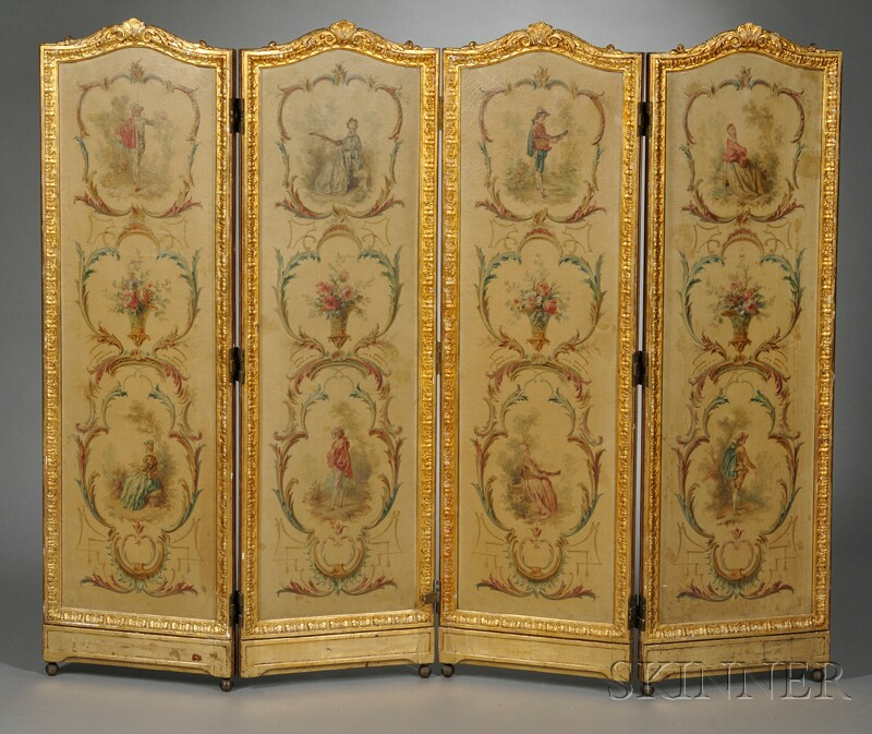 Louis XVI-style Four-panel Painted Screen