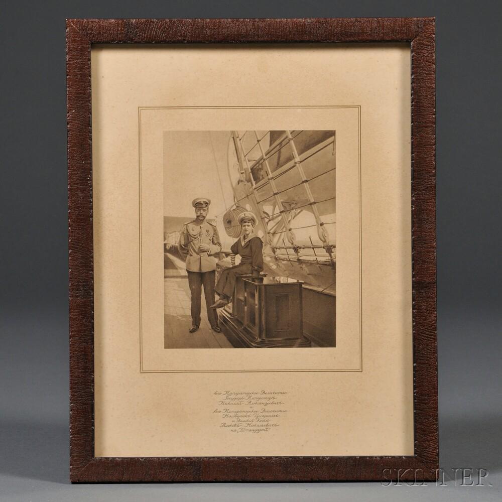 Photogravure of Tsar Nicholas II and Tsarevich Alexei Nikolaevich