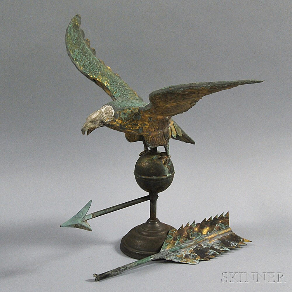 Gilt and Molded Copper Eagle Weathervane,