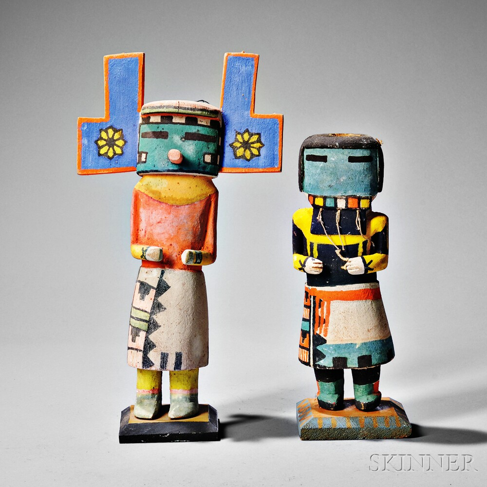 Two Hopi Polychrome Carved Wood Kachinas