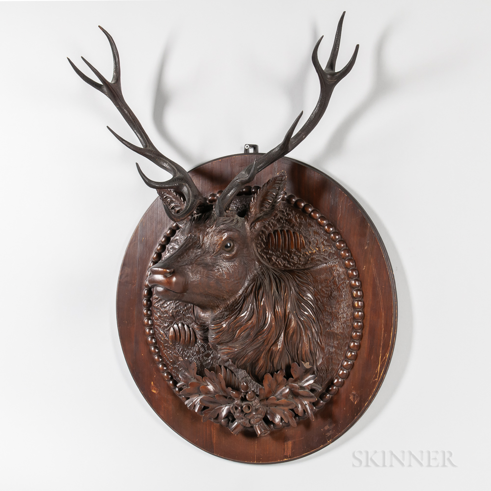 Carved Walnut Black Forest-style Bust of a Twelve-point Buck