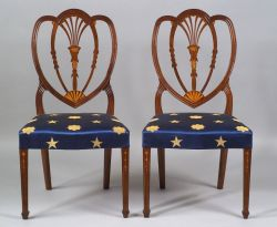 Pair of Mahogany Inlaid Shield-back Side Chairs