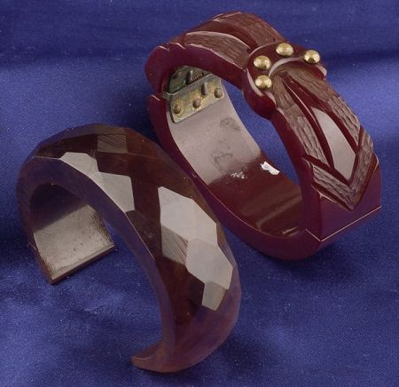 Bakelite and Brass Stud Carved Clamper Bracelet and Faceted Cuff