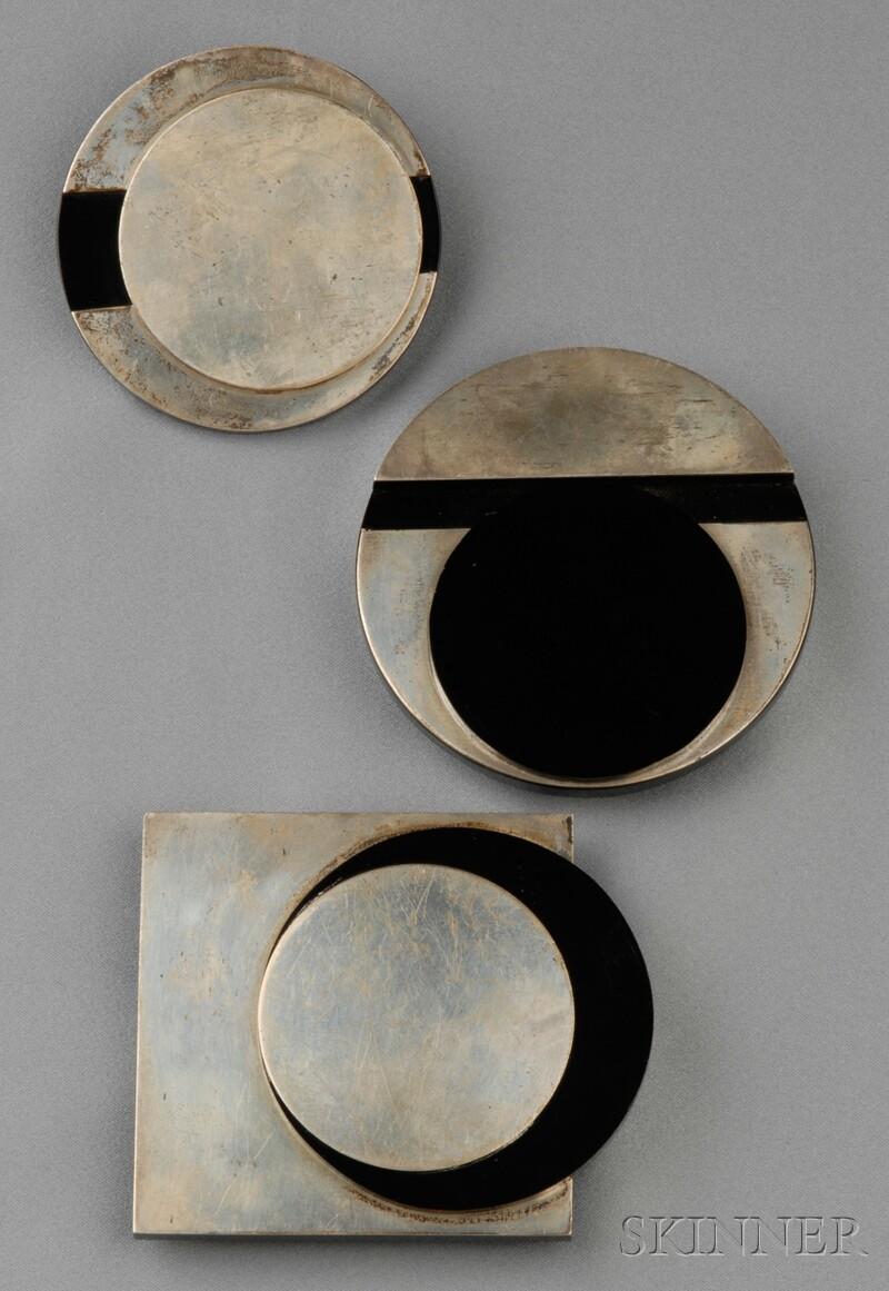 Three Silver and Lucite Jewelry Items, Barbara Locketz