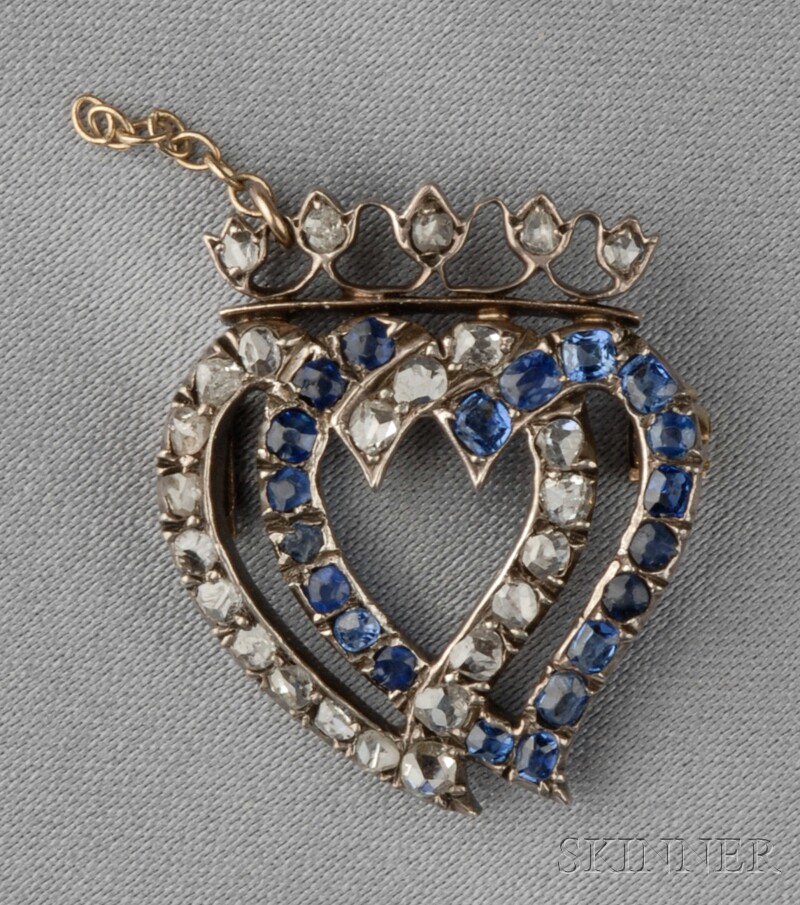 Antique Sapphire and Diamond Witch's Heart Brooch