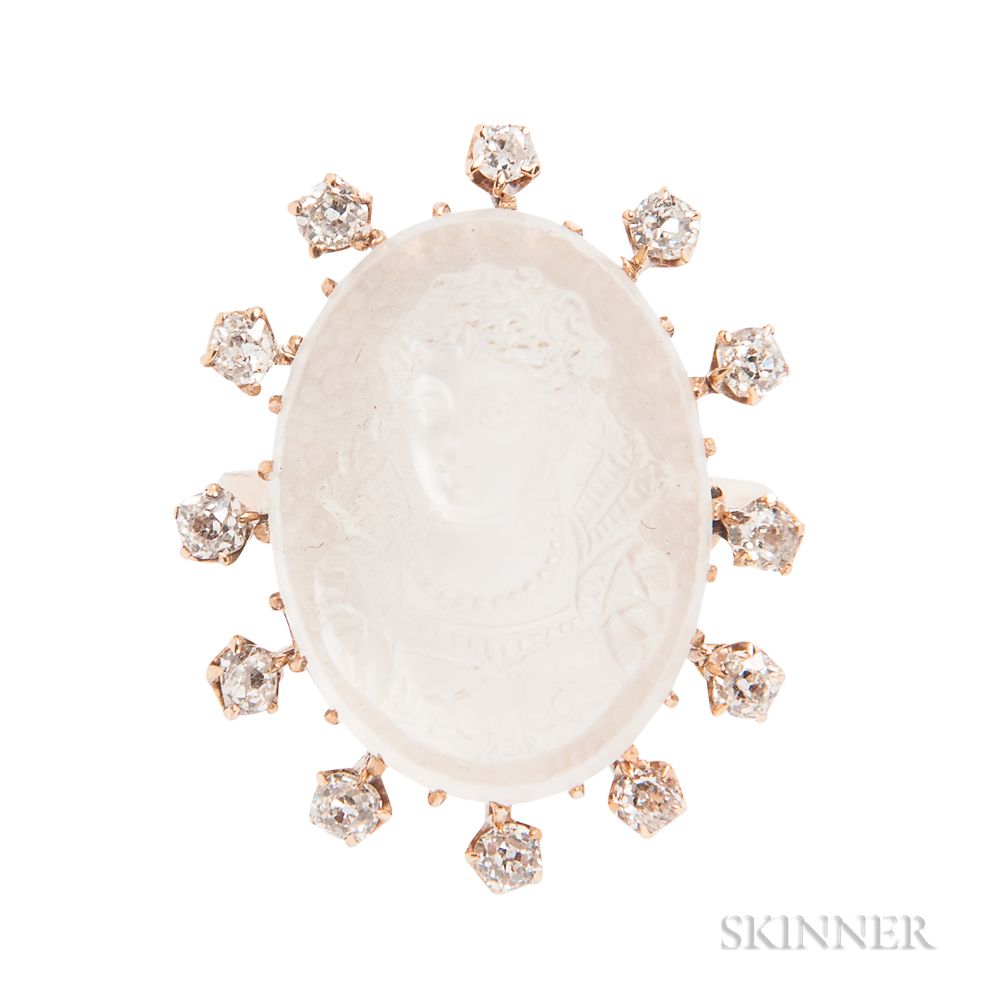 Antique Moonstone Cameo and Diamond Ring