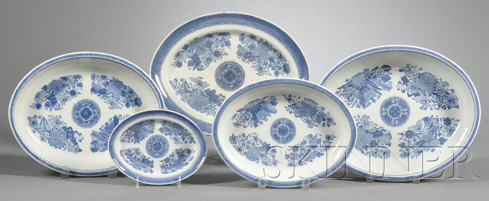 Five Oval Blue Fitzhugh Pattern Porcelain Serving Dishes